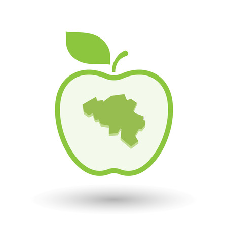 Illustration of an isolated line art healthy apple fruit vector icon with  the map of Belgium Illustration
