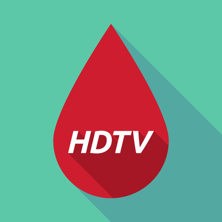 hdtv: Illustration of a long shadow red blood drop icon with    the text HDTV Illustration