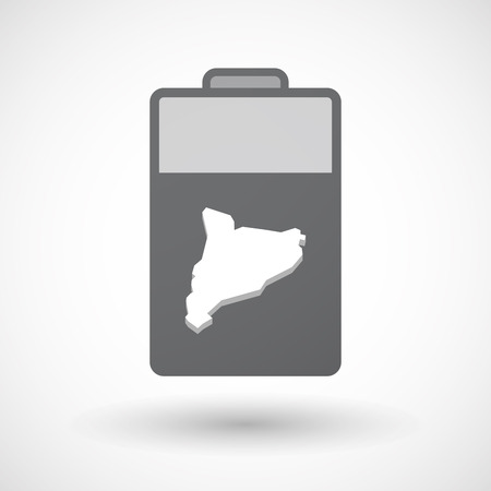 autonomia: Illustration of an isolated electric energy battery icon with  the map of Catalonia Vectores