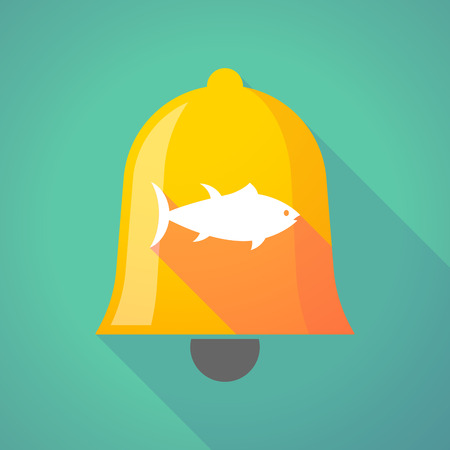 Illustration of a long shadow gold metal bell icon with  a tuna fish