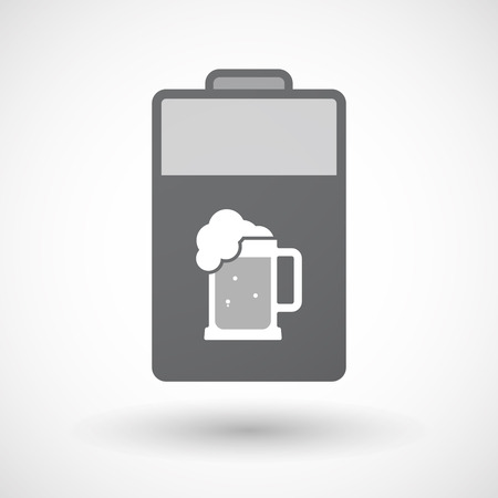 tarro cerveza: Illustration of an isolated electric energy battery icon with  a beer jar icon
