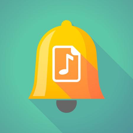 partition musique: Illustration d'une icône de cloche en métal doré longue ombre avec une icône de partition Illustration
