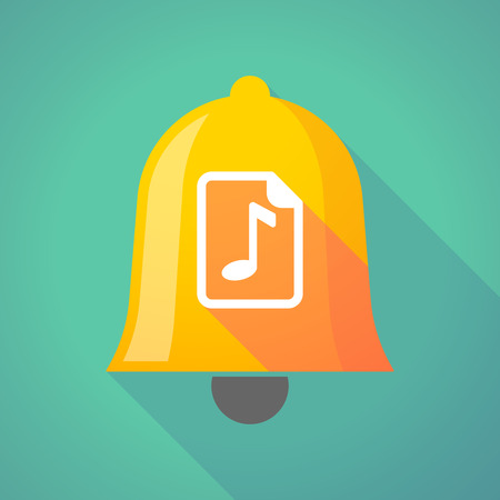 music score: Illustration of a long shadow gold metal bell icon with  a music score icon Illustration