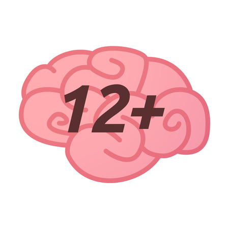 Illustration of an isolated brain icon with    the text 12+