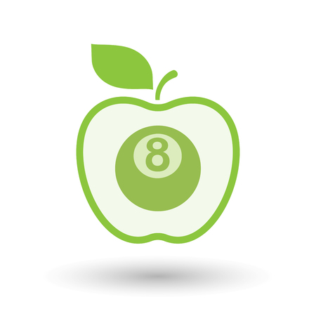 pool bola: Illustration of an isolated line art healthy apple fruit vector icon with  a pool ball Vectores