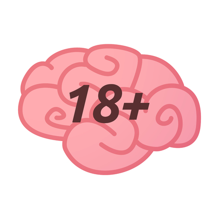 Illustration of an isolated brain icon with    the text 18+ Illustration
