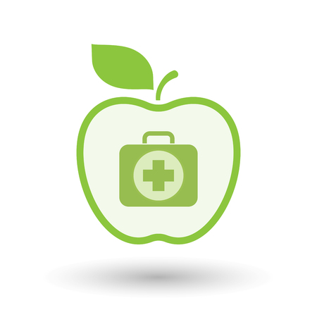 Illustration of an isolated line art healthy apple fruit vector icon with  a first aid kit icon