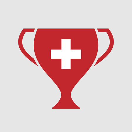 Illustration of an isolated award cup vector icon with   the Swiss flag