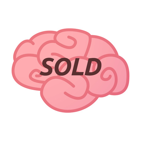 Illustration of an isolated brain icon with    the text SOLD