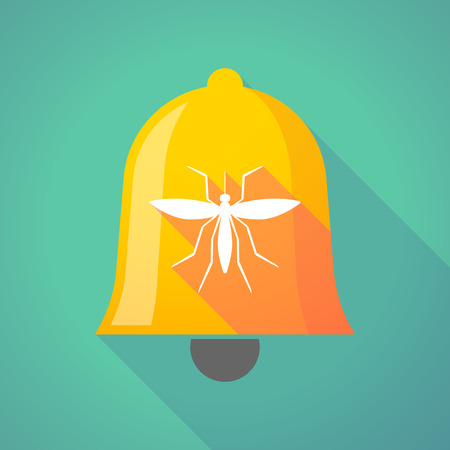 bloodsucker: Illustration of a long shadow gold metal bell icon with  a mosquito