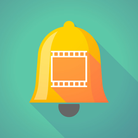 Illustration of a long shadow gold metal bell icon with   a photographic 35mm film strip