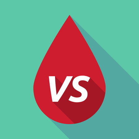 long term: Illustration of a long shadow red blood drop icon with    the text VS Illustration