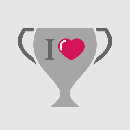 glyph: Illustration of an isolated award cup vector icon with  an  I like glyph