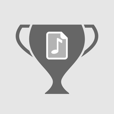 music score: Illustration of an isolated award cup vector icon with  a music score icon