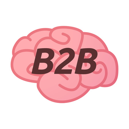 b2b: Illustration of an isolated brain icon with    the text B2B Vectores