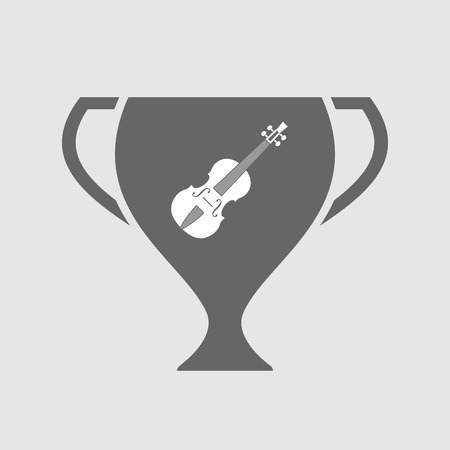 Illustration of an isolated award cup vector icon with  a violin
