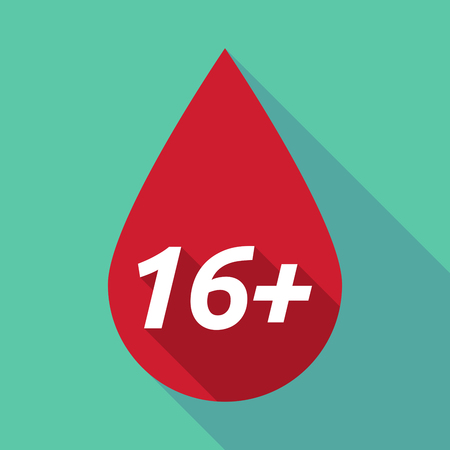 approval rate: Illustration of a long shadow red blood drop icon with    the text 16+