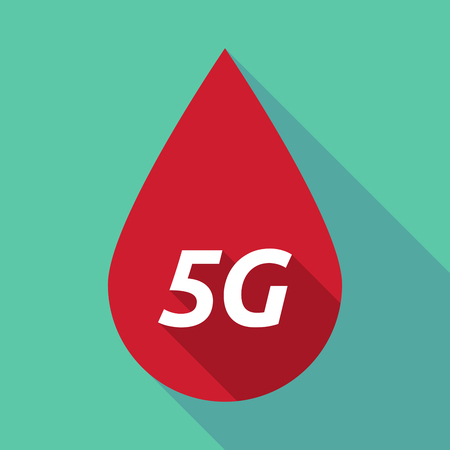 blood transfer: Illustration of a long shadow red blood drop icon with    the text 5G