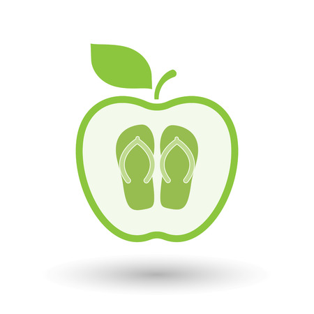 Illustration of an isolated line art healthy apple fruit vector icon with   a pair of flops Illustration