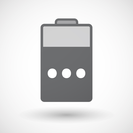 ellipsis: Illustration of an isolated electric energy battery icon with  an ellipsis orthographic sign Illustration