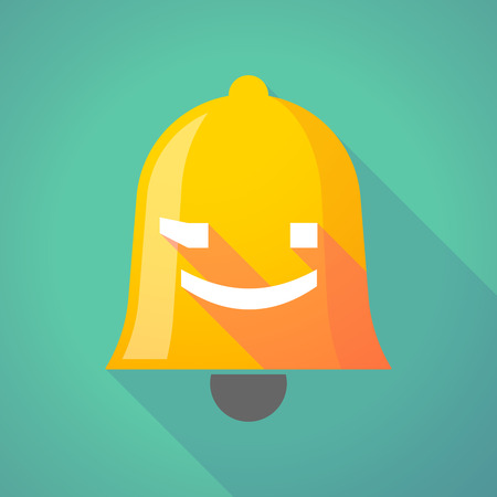 alerts: Illustration of a long shadow gold metal bell icon with  a wink text face emoticon