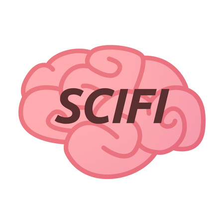 Illustration of an isolated brain icon with    the text SCIFI