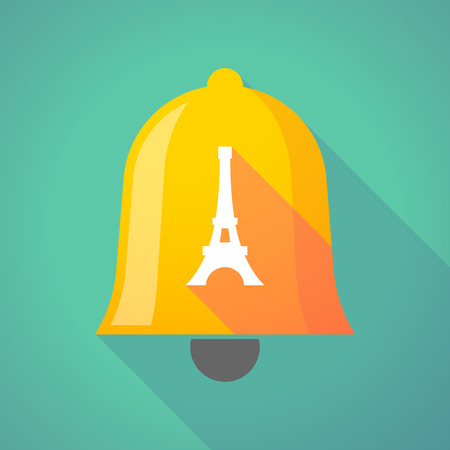 Illustration of a long shadow gold metal bell icon with   the Eiffel tower