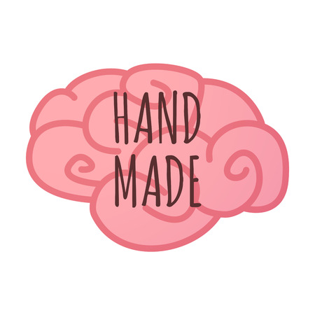 do it: Illustration of an isolated brain icon with    the text HAND MADE
