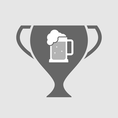 tarro cerveza: Illustration of an isolated award cup vector icon with  a beer jar icon Vectores