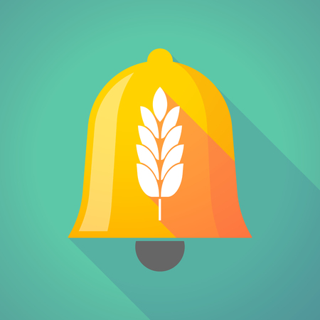 Illustration of a long shadow gold metal bell icon with  a wheat plant icon Illustration