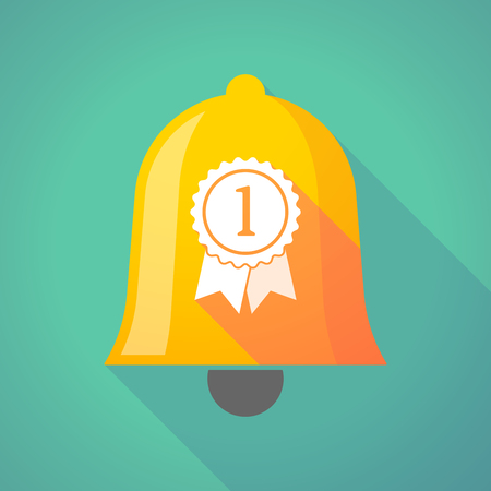 Illustration of a long shadow gold metal bell icon with  a ribbon award