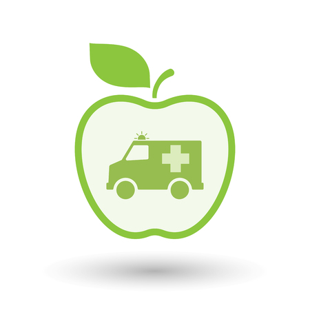 Illustration of an isolated line art healthy apple fruit vector icon with  an ambulance icon