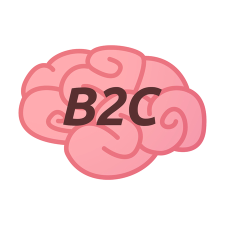 Illustration of an isolated brain icon with    the text B2C