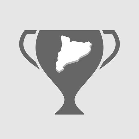 autonomia: Ilustración de una taza de adjudicación del icono del vector aislado con el mapa de Cataluña Vectores