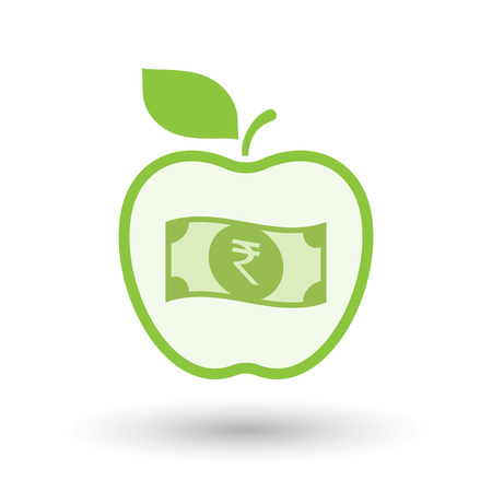 Illustration of an isolated line art healthy apple fruit vector icon with  a rupee bank note icon Illustration