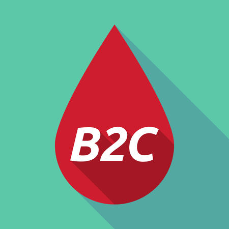 b2c: Illustration of a long shadow red blood drop icon with    the text B2C