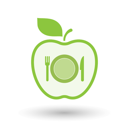 Illustration of an isolated line art healthy apple fruit vector icon with  a dish, knife and a fork icon Illustration