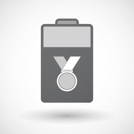 lithium: Illustration of an isolated electric energy battery icon with  a medal