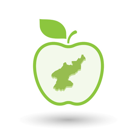 Illustration of an isolated line art healthy apple fruit vector icon with  the map of North Korea