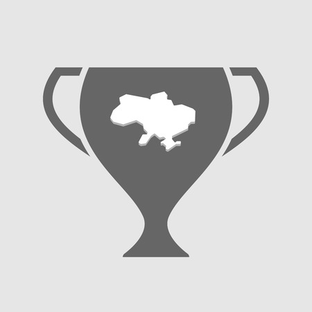 Illustration of an isolated award cup vector icon with  the map of Ukraine