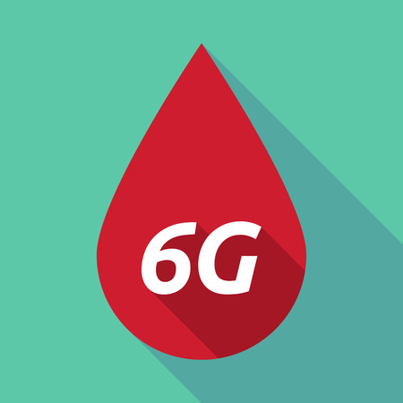 blood transfer: Illustration of a long shadow red blood drop icon with    the text 6G