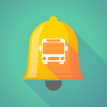alerts: Illustration of a long shadow gold metal bell icon with  a bus icon