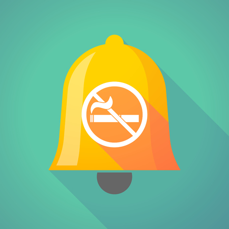 smoke alarm: Illustration of a long shadow gold metal bell icon with  a no smoking sign