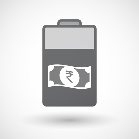 bank note: Illustration of an isolated electric energy battery icon with  a rupee bank note icon