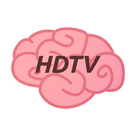 hdtv: Illustration of an isolated brain icon with    the text HDTV Illustration