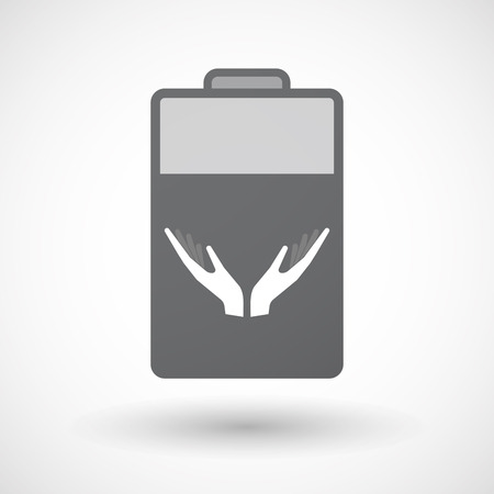 ease: Illustration of an isolated electric energy battery icon with  two hands offering