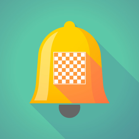 Illustration of a long shadow gold metal bell icon with  a chess board
