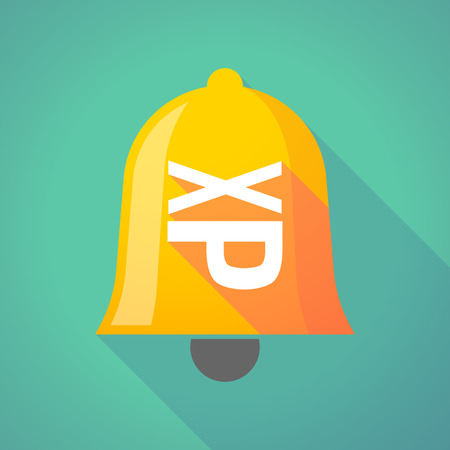 Illustration of a long shadow gold metal bell icon with  a Tongue sticking text face emoticon
