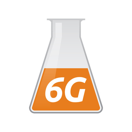 Illustration of an isolated chemical test tube icon with    the text 6G