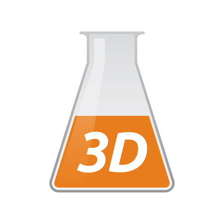 Illustration of an isolated chemical test tube icon with    the text 3D